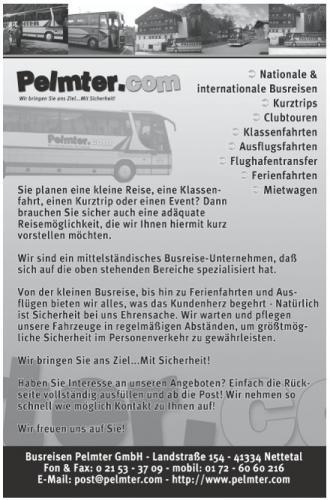 Busreisen Pelmter